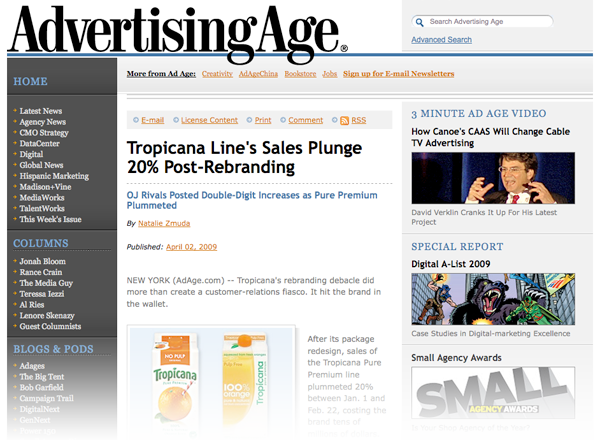 Tropicana sales plummet after rebranding