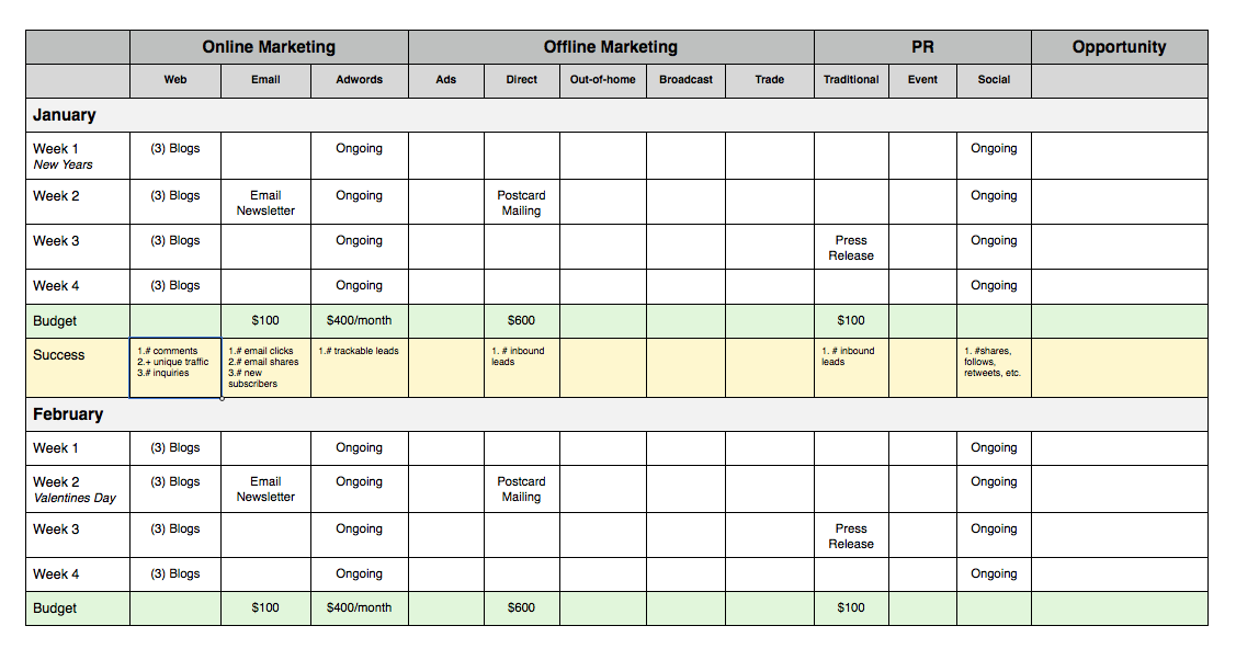How to create a simple small business marketing plan – Sample Marketing Schedule